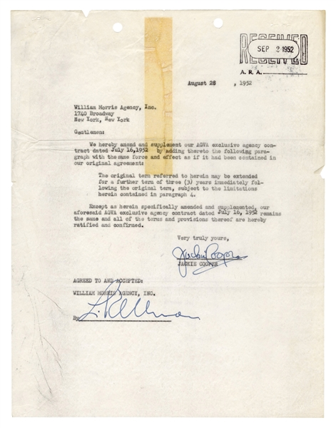 Jackie Cooper Signed Letter to William Morris Agency.