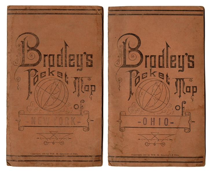 Pair of Bradley's Pocket Maps of New York and Ohio.
