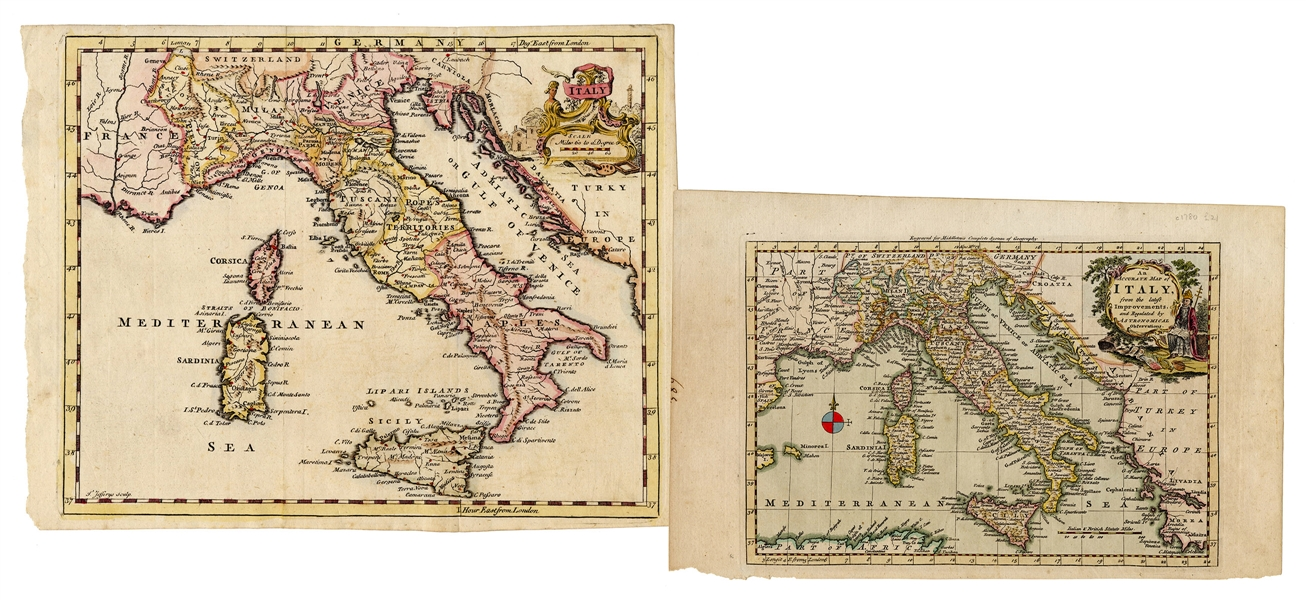 Pair of 18th Century Maps of Italy.