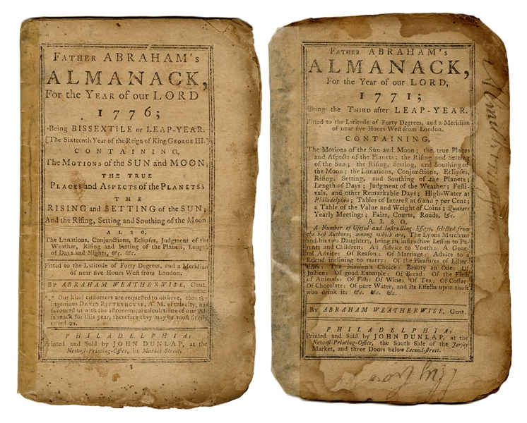 Father Abraham's Almanack, For the Year of Our Lord 1776; Fitted to the Latitude of Forty Degrees, and a Meridian of near five Hours West from London.