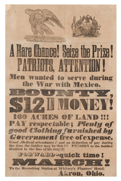 Mexican-American War Recruiting Broadside.