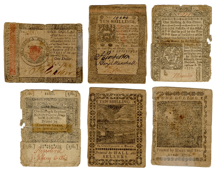 Three Colonial Currency Notes.