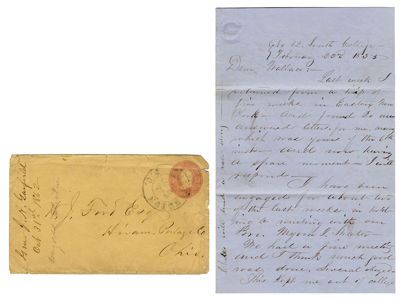 "Garfield, James A. James A. Garfield Autograph Letter, to Wallace J. Ford, Signed ""James."""
