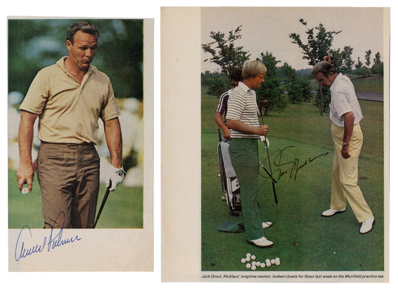 Jack Nicklaus and Arnold Palmer Signed Cut Photos.