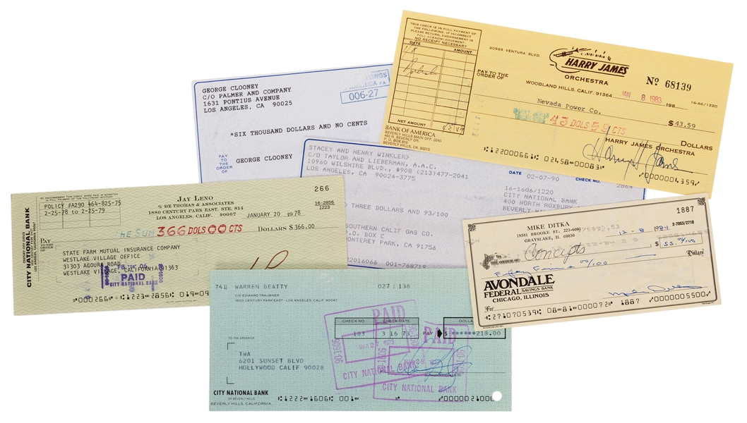 Actors and Entertainers. Six Signed Checks.