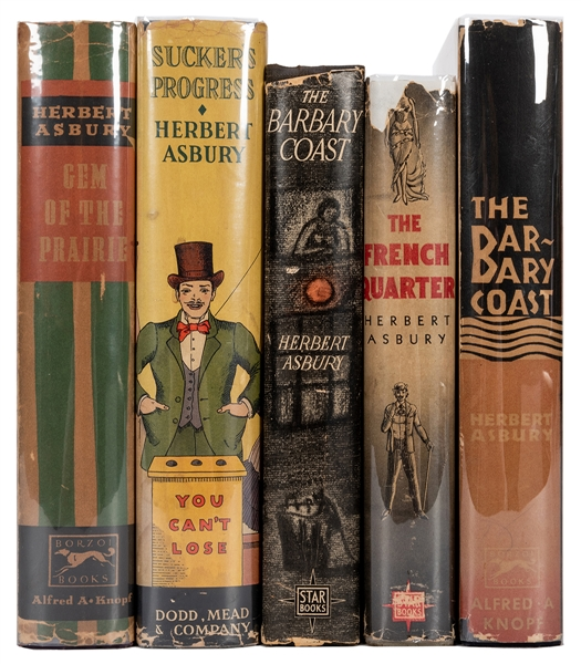 Five Volumes by Asbury on Crime and Gambling.