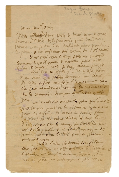 Eugene Boudin Three-Page ALS.