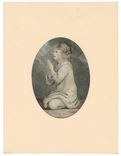 Late 18th Century Watercolor of a Child at Prayer.