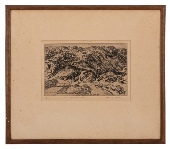 Harry Wickey. Hudson River Valley Etching. Circa