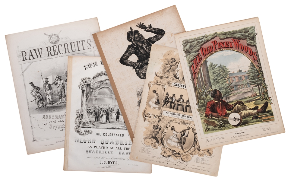 Five Pieces of 19th Century Jim Crow / Minstrelsy Sheet Music.   (