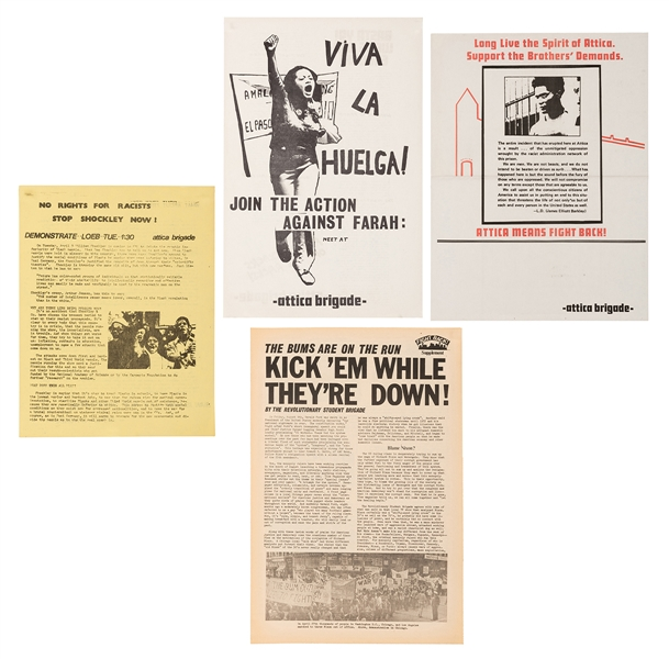 Group of Four Attica Brigade Protest Posters and Flyers.