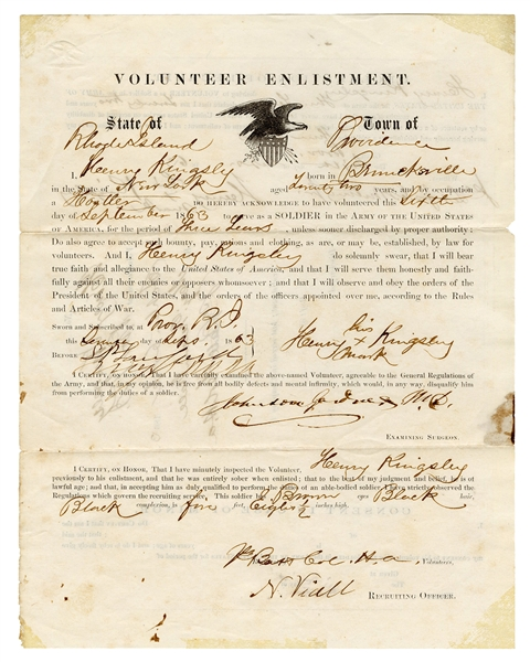 Civil War Enlistment of Black Soldier in Union Army.