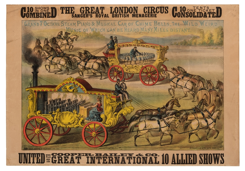 The Great London Circus United with Cooper & Bailey. Steam Organ and Bell Wagon.