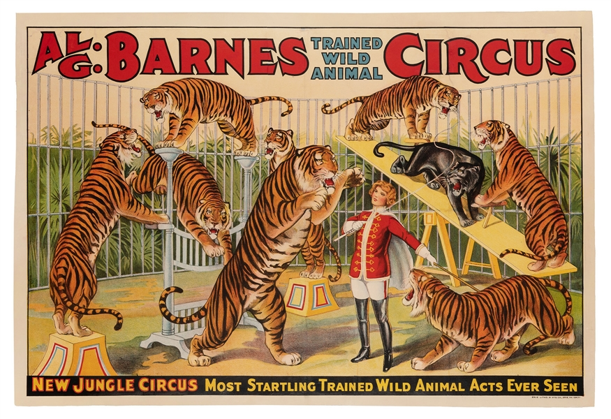 Al. G. Barnes Circus. New Jungle Circus / Most Startling Wild Animal Acts.