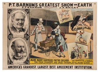 Barnum's Greatest Show on Earth. The Four Funniest and Most Original of All Acting Clowns / Educated Animals.