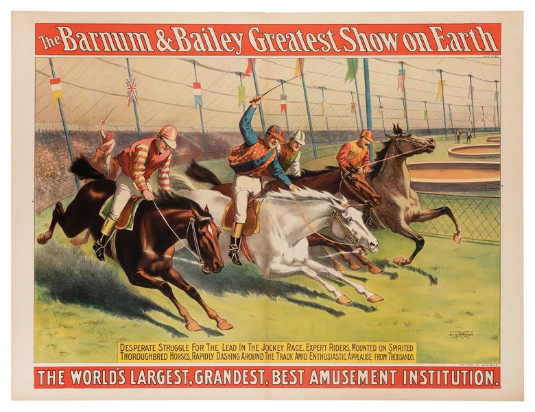 The Barnum & Bailey Greatest Show on Earth. Jockey Riders, Expert Riders, Mounted on Thoroughbred Horses.