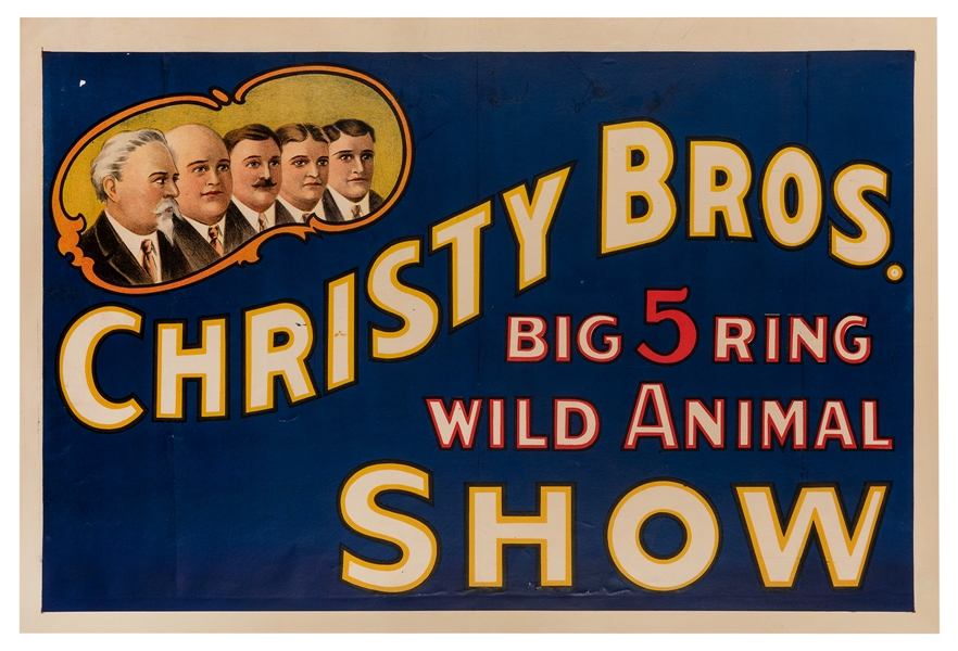 Christy Bros. Big 5 Ring Wild Animal Show.