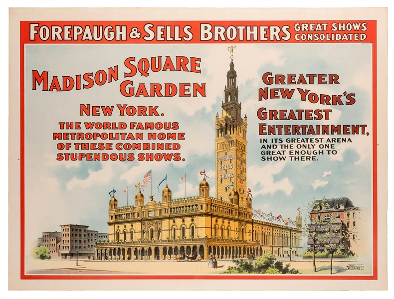 Forepaugh and Sells Brothers Circus. Madison Square Garden.