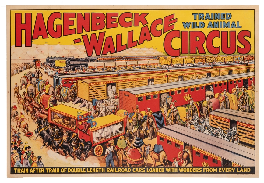 Hagenbeck-Wallace Trained Wild Animal Circus. Train after Train of Double-Length Railroad Cars.