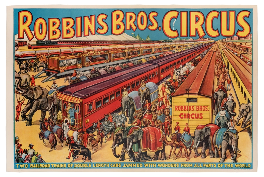 Robbins Bros. Circus. Two Railroad Trains of Double Length Cars.