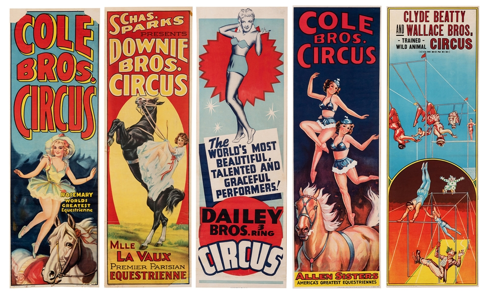 Group of Five Circus Panel Posters. Equestrians and Aerialists.