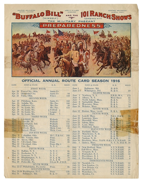 Buffalo Bill and 101 Ranch Wild West 1916 Route Card Sheet.
