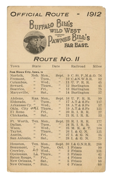 Buffalo Bill's Wild West and Pawnee Bill's Far East Route Sheet of 1912 Postcard.