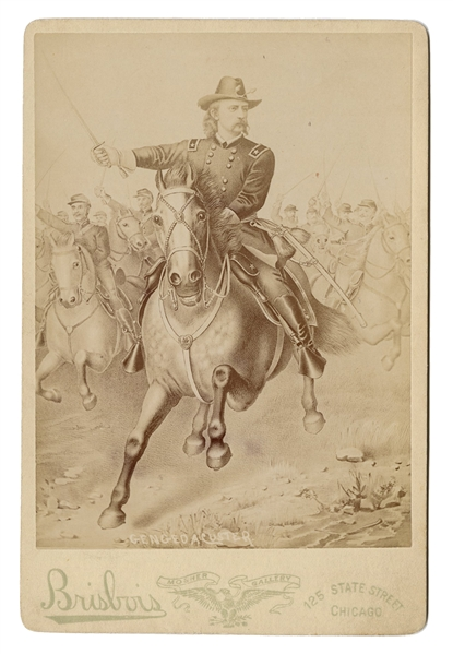General Custer Cabinet Card Lithograph.