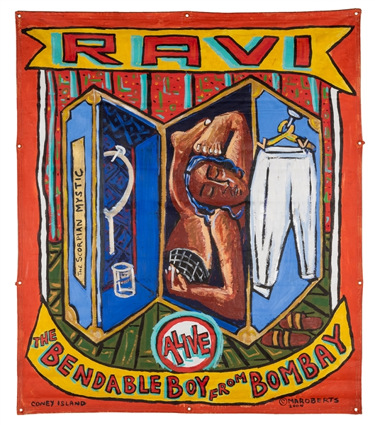 Ravi The Bendable Boy from Bombay. Sideshow Banner.