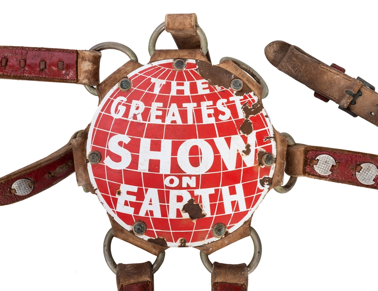 Ringling Brothers and Barnum & Bailey Combined Circus. The Greatest Show on Earth Round Porcelain Sign/Elephant Harness.