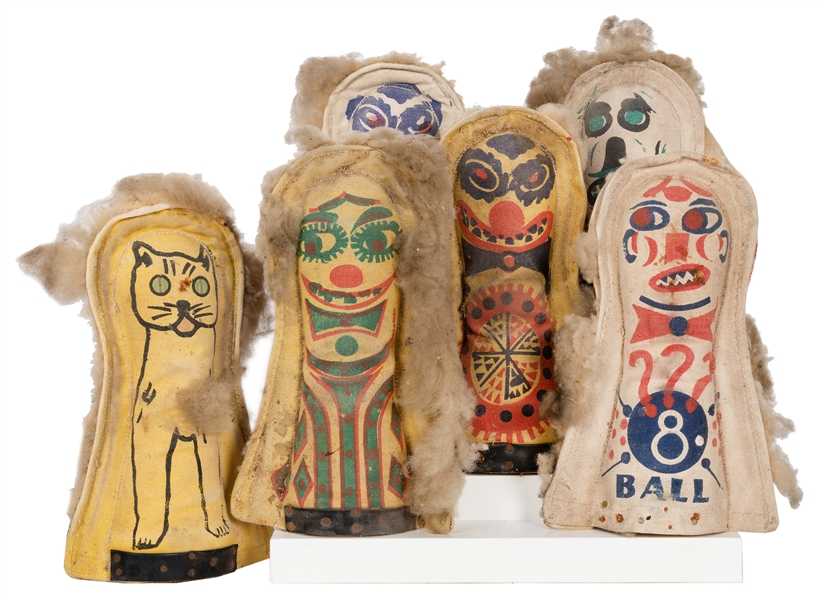 "Group of Six Carnival Knock Down ""Punk"" Dolls."