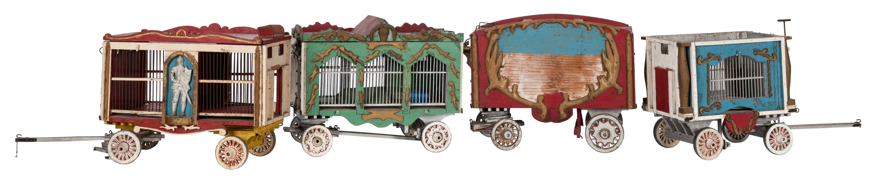 Group of Four Wooden Model Circus Wagons.