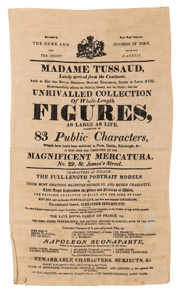 Madame Tussaud Cloth Broadside and Admission Token.
