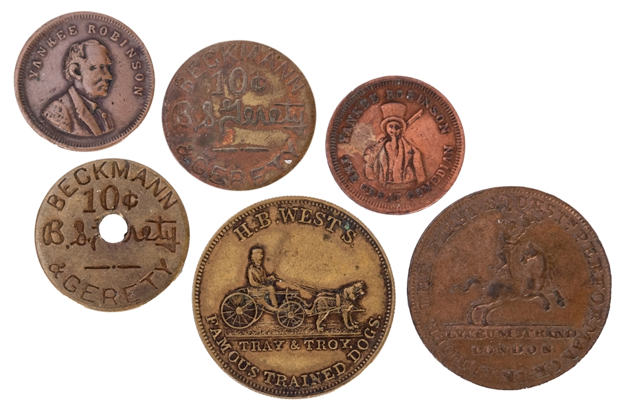 [Tokens] Six Antique and Vintage Circus Tokens and Coins.