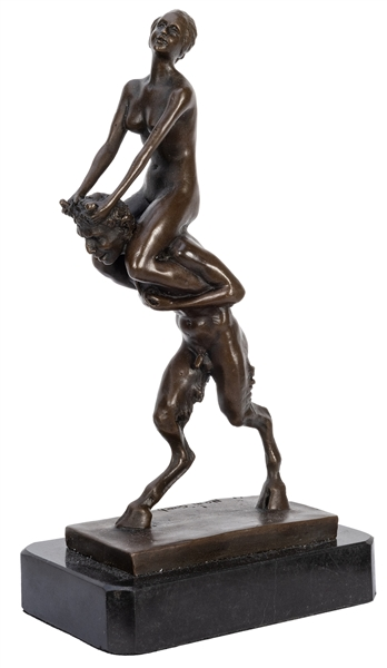Erotic Bronze Nude Woman on Satyr.