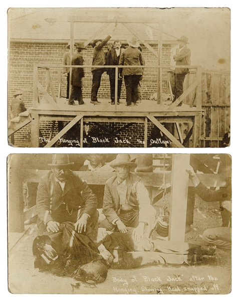 "Pair of Photo Postcards of the Hanging of ""Black Jack."""