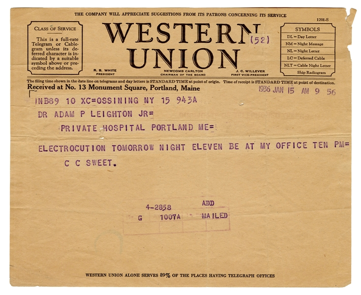 Western Union Telegram Sent on the Eve of Albert Fish's Execution from Sing Sing Prison's Chief of Staff, Dr. Charles C. Sweet.