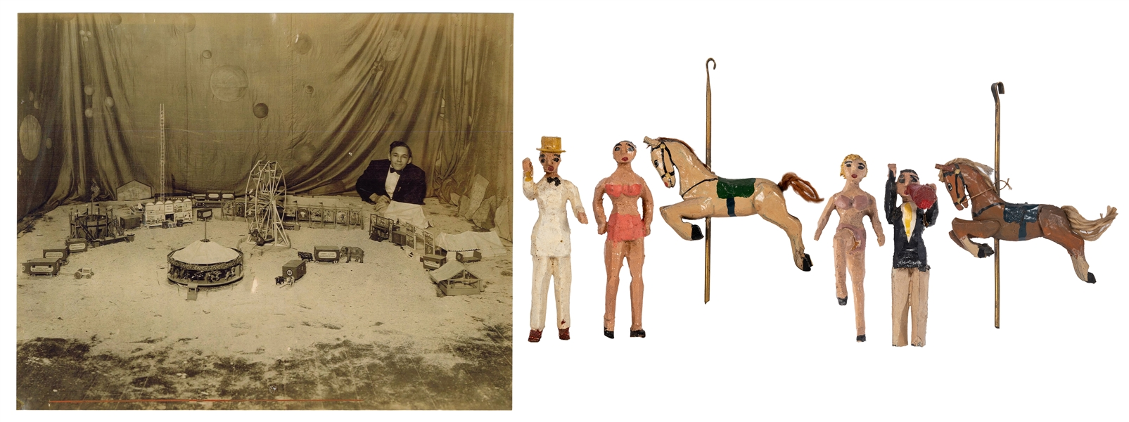 "Johnny Eck ""Pen Knife Circus"" Wooden Figurines."