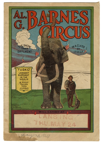 "Al. G. Barnes Circus Courier featuring ""Tusko"" the Elephant."