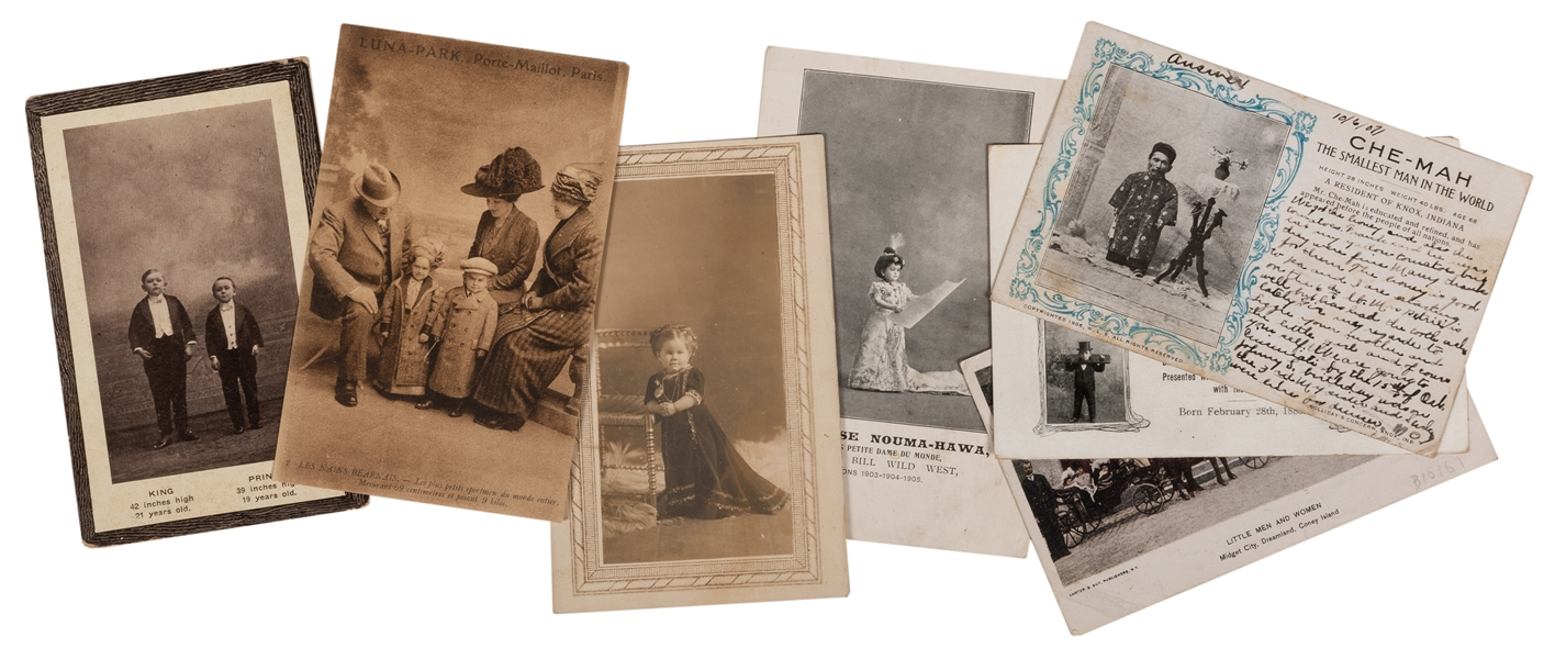 Seven Postcards of Circus Midgets and Dwarfs.