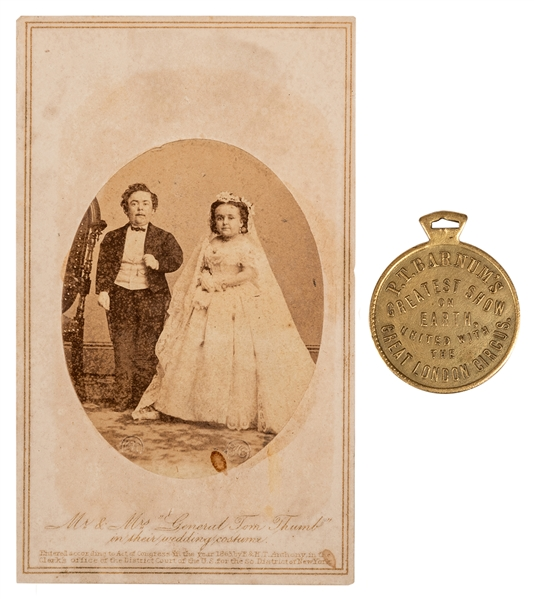 1881 Watch Fob / Charm Souvenir of Gen. and Mrs. Tom Thumb.