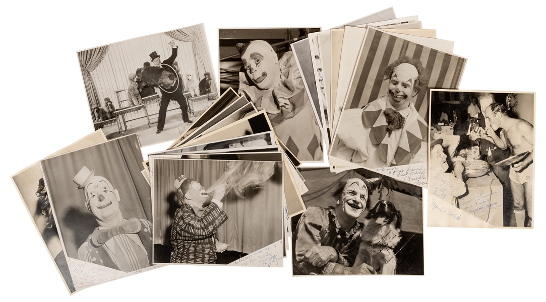 "Archive of ""Before and After"" Photos of Circus Clowns, Signed."