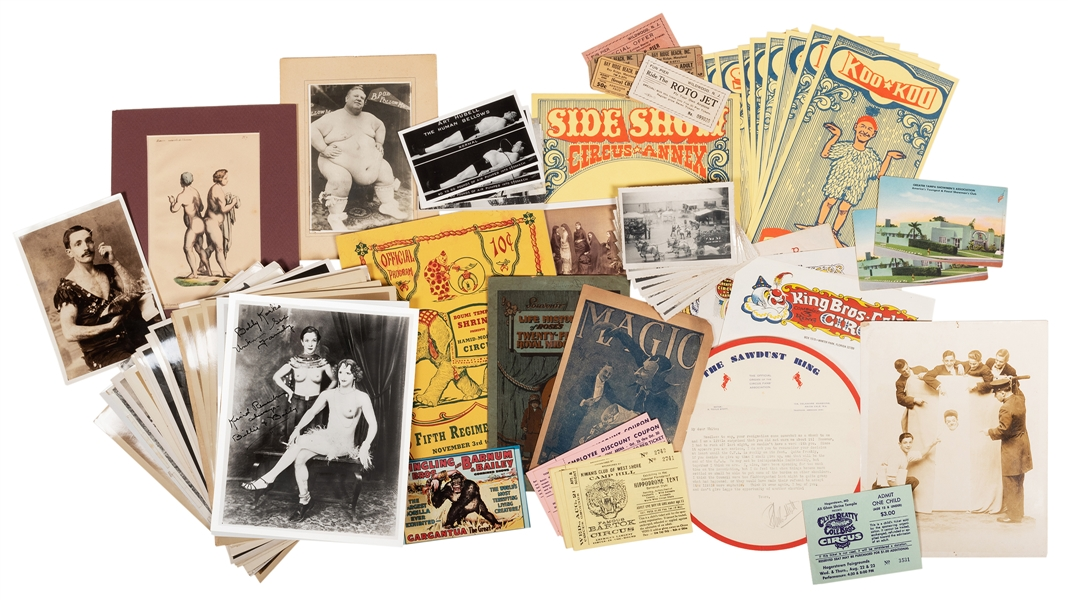 A Large Collection of Circus and Oddities Ephemera.