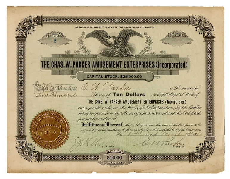 C.W. Parker Amusement Enterprises Stock Certificate.