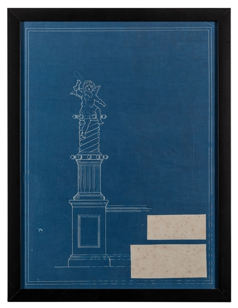 Cherub on Pillar Statue Blueprint. Circa 1910s.