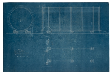 "Mangels, William F. Blueprint Plan of the ""Revolving Barrel"" and its Mechanical Parts."