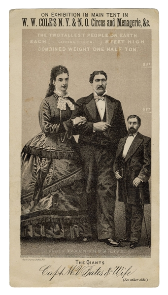 "Capt. Bates and Wife ""Tallest People on Earth"" Trade Card. 1878."