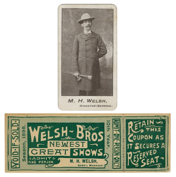 Welsh Bros. Circus Ticket and Calling Card.