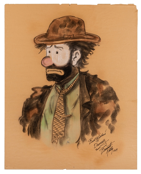 Large Emmett Kelly Self-Portrait, Inscribed and Signed.