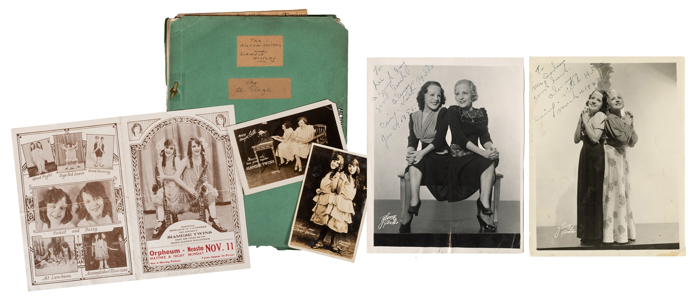 Siamese Twins Daisy and Violet Hilton. Two Signed Photos and Other Ephemera.